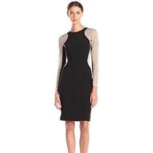 Xscape-Illusion long sleeve body con dress, size 8